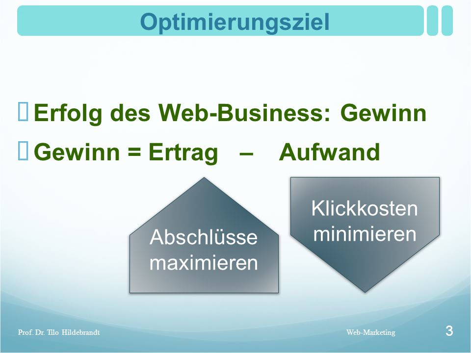 Optimierungsziel Web-MarketingProf.Dr.
