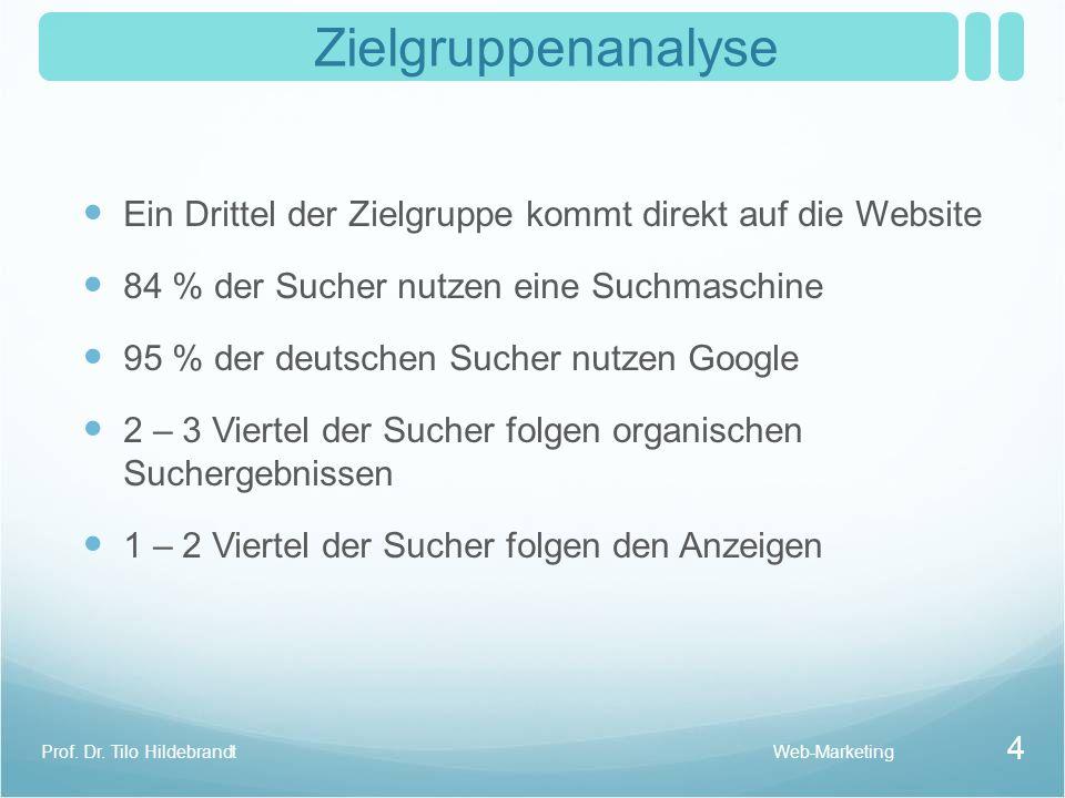 Zielgruppenanalyse Ein Drittel der Zielgruppe kommt direkt auf die Website 84 % der Sucher nutzen eine Suchmaschine 95 % der deutschen Sucher nutzen G