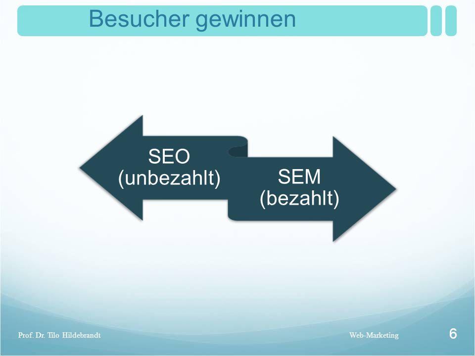 Suchmaschinen Marketing Web-Marketing 7 Prof. Dr. Tilo Hildebrandt