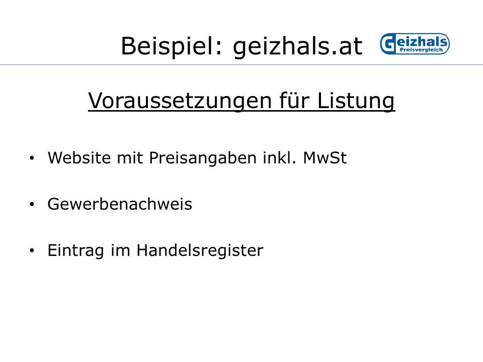 Beispiel: geizhals.at Umsatzveränderung seit Listung bei geizhals.at : Quelle: geizhals.atStand:04/2004