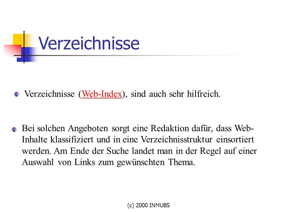 (c) 2000 INMUBS Verzeichnisse (Web-Index), sind auch sehr hilfreich. Web-Index Bei solchen Angeboten sorgt eine Redaktion dafür, dass Web- Inhalte kla