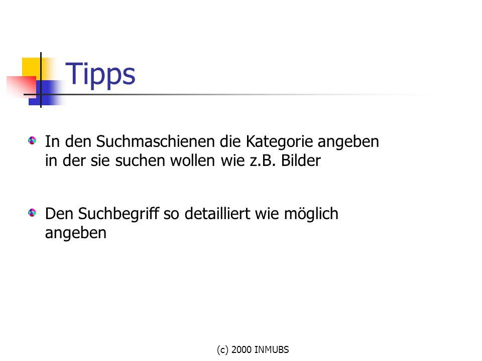 (c) 2000 INMUBS Tipps In den Suchmaschienen die Kategorie angeben in der sie suchen wollen wie z.B. Bilder Den Suchbegriff so detailliert wie möglich