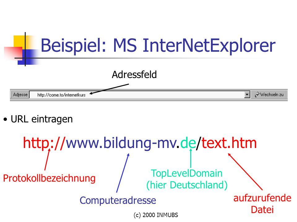 (c) 2000 INMUBS Beispiel: MS InterNetExplorer Adressfeld URL eintragen http://www.bildung-mv.de/text.htm Protokollbezeichnung Computeradresse TopLevel