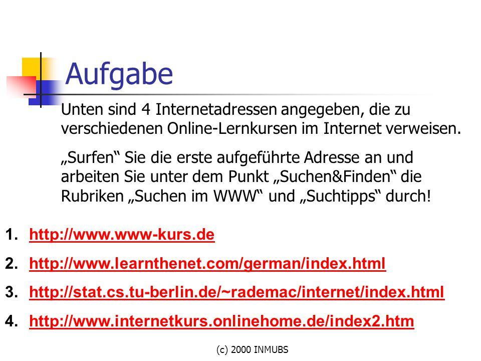 """(c) 2000 INMUBS Aufgabe Unten sind 4 Internetadressen angegeben, die zu verschiedenen Online-Lernkursen im Internet verweisen. """"Surfen"""" Sie die erste"""