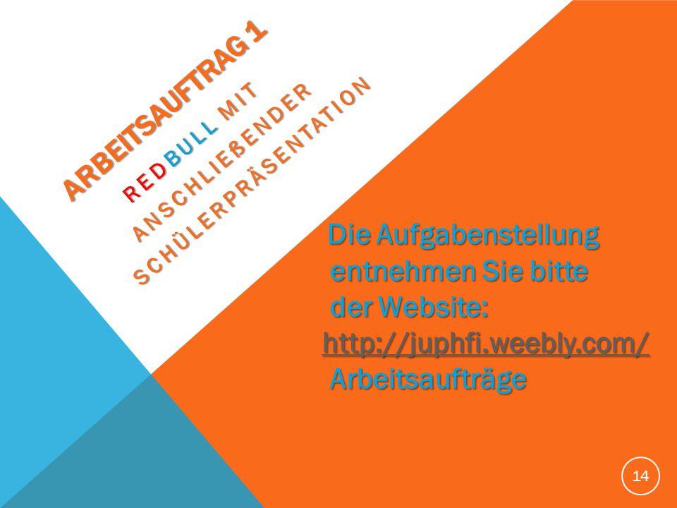 ARBEITSAUFTRAG 1 ARBEITSAUFTRAG 1 REDBULL MIT REDBULL MIT ANSCHLIEßENDER ANSCHLIEßENDER SCHÜLERPRÄSENTATION SCHÜLERPRÄSENTATION 14 Die Aufgabenstellun