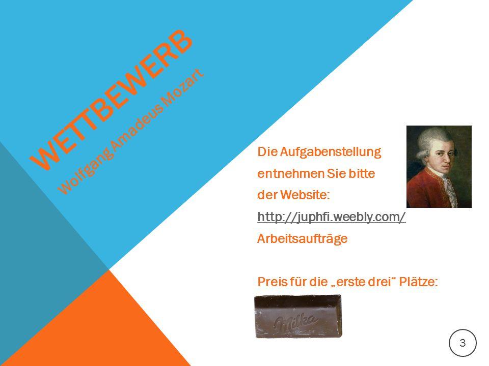"""WETTBEWERB Die Aufgabenstellung entnehmen Sie bitte der Website: http://juphfi.weebly.com/ Arbeitsaufträge Preis für die """"erste drei"""" Plätze: Wolfgang"""