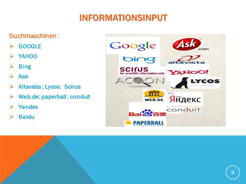 INFORMATIONSINPUT Suchmaschinen :  GOOGLE  YAHOO  Bing  Ask  Altavista ; Lycos; Scirus  Web.de; paperball ; conduit  Yandex  Baidu 4
