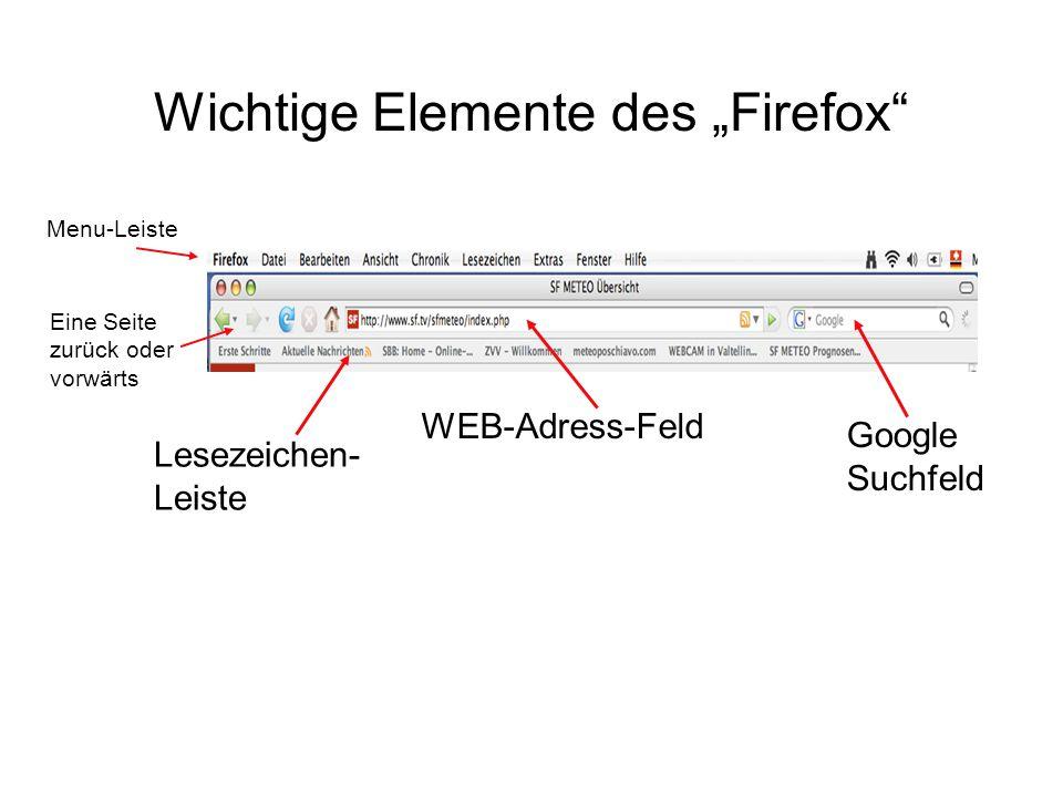 """Wichtige Elemente des """"Firefox Menu-Leiste WEB-Adress-Feld Google Suchfeld Eine Seite zurück oder vorwärts Lesezeichen- Leiste"""