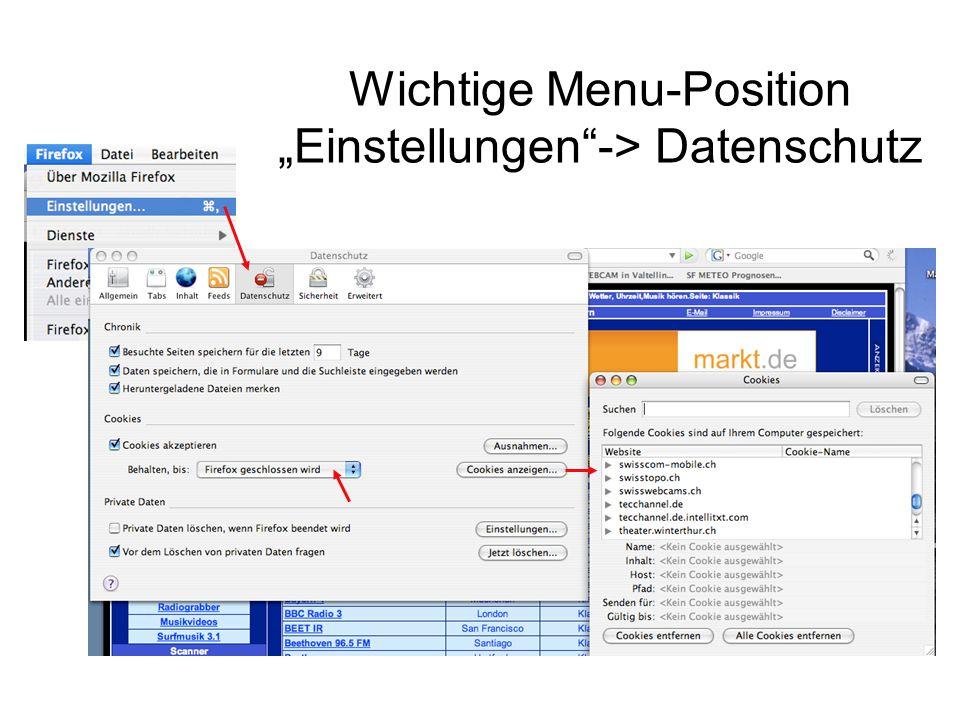 """Wichtige Menu-Position """"Einstellungen""""-> Datenschutz"""