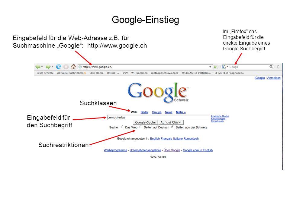 """Google-Einstieg Eingabefeld für die Web-Adresse z.B. für Suchmaschine """"Google"""": http://www.google.ch Suchklassen Eingabefeld für den Suchbegriff Suchr"""