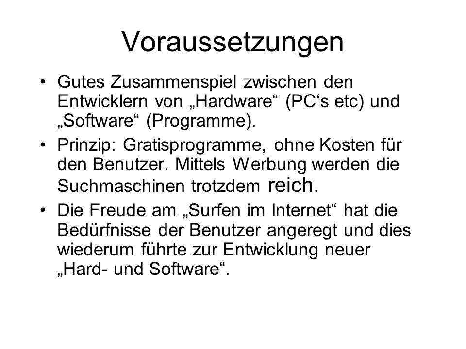 """Voraussetzungen Gutes Zusammenspiel zwischen den Entwicklern von """"Hardware"""" (PC's etc) und """"Software"""" (Programme). Prinzip: Gratisprogramme, ohne Kost"""