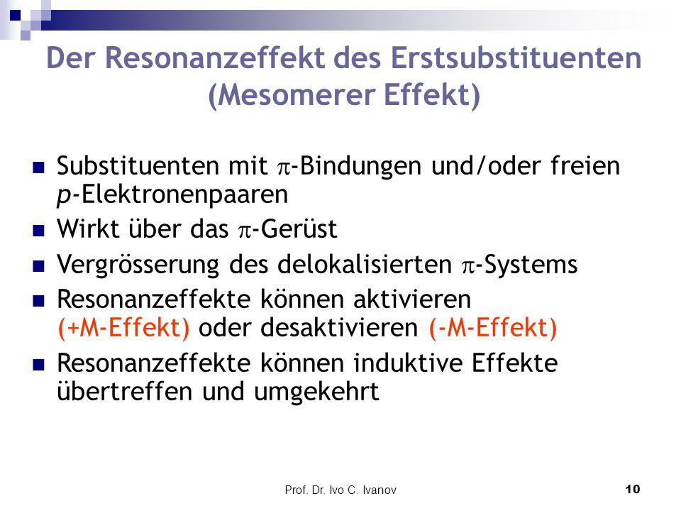 Prof. Dr. Ivo C. Ivanov10 Der Resonanzeffekt des Erstsubstituenten (Mesomerer Effekt) Substituenten mit  -Bindungen und/oder freien p-Elektronenpaare