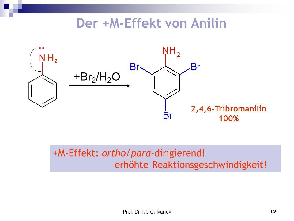 Prof. Dr. Ivo C. Ivanov12 Der +M-Effekt von Anilin +M-Effekt: ortho/para-dirigierend! erhöhte Reaktionsgeschwindigkeit! +Br 2 /H 2 O 2,4,6-Tribromanil