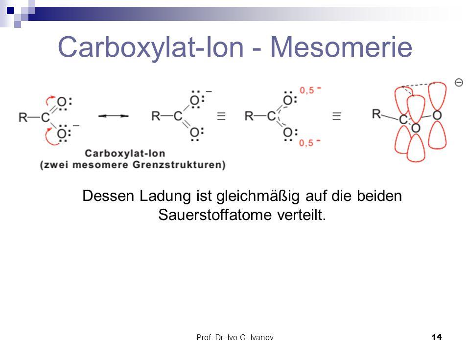 Prof. Dr. Ivo C. Ivanov14 Carboxylat-Ion - Mesomerie Dessen Ladung ist gleichmäßig auf die beiden Sauerstoffatome verteilt.