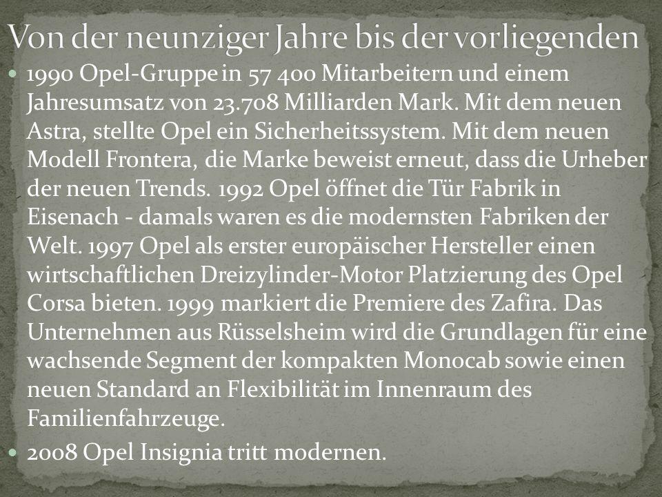 1990 Opel-Gruppe in 57 400 Mitarbeitern und einem Jahresumsatz von 23.708 Milliarden Mark. Mit dem neuen Astra, stellte Opel ein Sicherheitssystem. Mi