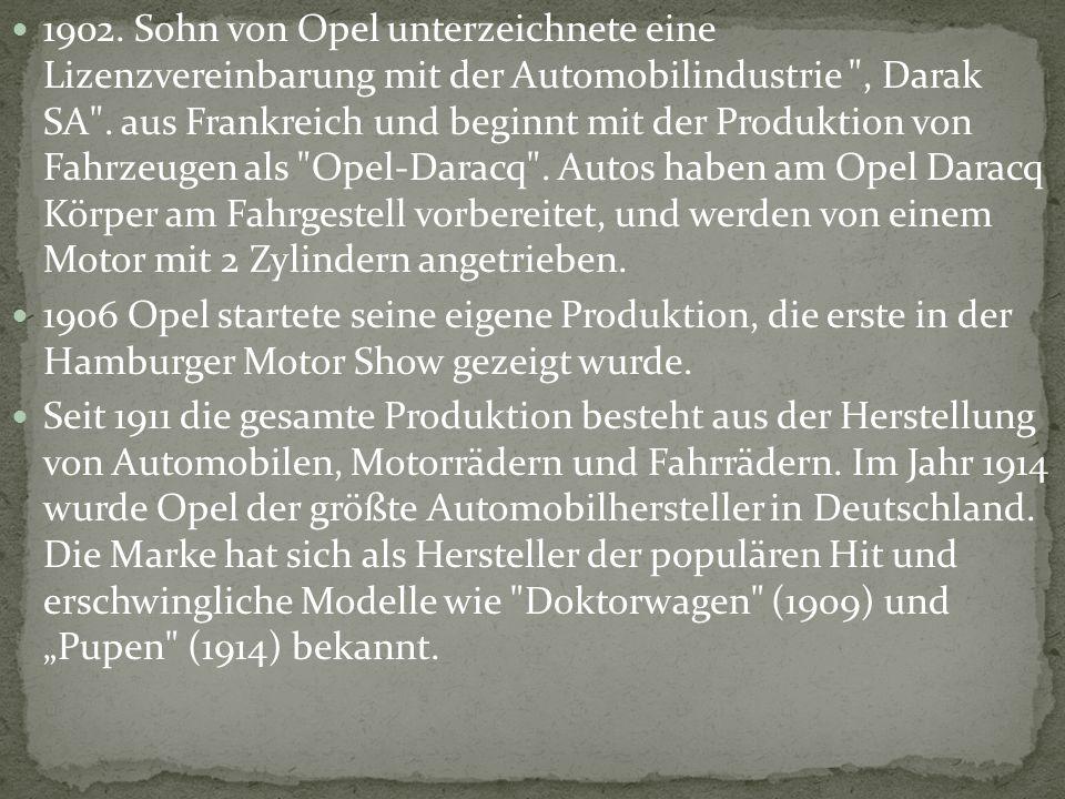 1902. Sohn von Opel unterzeichnete eine Lizenzvereinbarung mit der Automobilindustrie