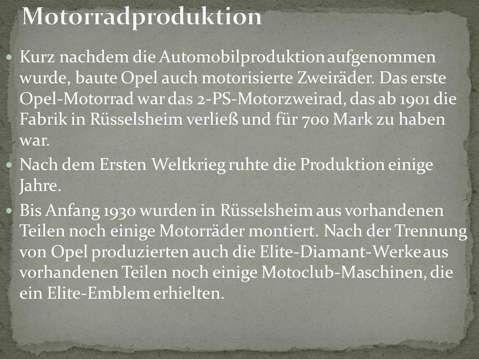 Kurz nachdem die Automobilproduktion aufgenommen wurde, baute Opel auch motorisierte Zweiräder. Das erste Opel-Motorrad war das 2-PS-Motorzweirad, das