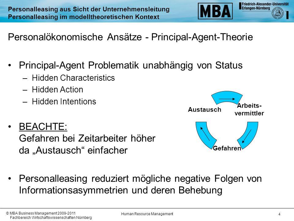 """Human Resource Management © MBA Business Management 2009-2011 Fachbereich Wirtschaftswissenschaften Nürnberg 5 Personalleasing aus Sicht der Unternehmensleitung Personalleasing im modelltheoretischen Kontext Personalökonomische Ansätze - Transaktionskostentheorie –""""Buy bei Funktionen mit geringer Spezifität –""""Make wenn kritisch für Kernkompetenz"""