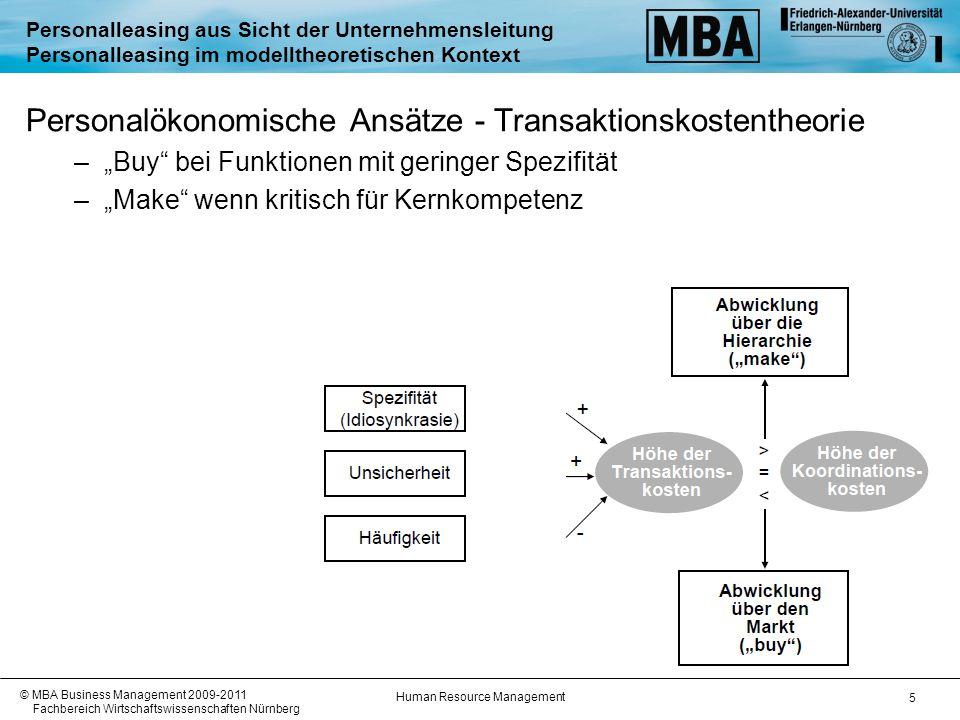 Human Resource Management © MBA Business Management 2009-2011 Fachbereich Wirtschaftswissenschaften Nürnberg 6 Personalleasing aus Sicht der Unternehmensleitung Personalleasing im modelltheoretischen Kontext Ressourcenbasierter Ansatz Make % Buy % Bedeutung für Wettbewerbsfähigkeit / Kernkompetenzen Personelle Ressourcen