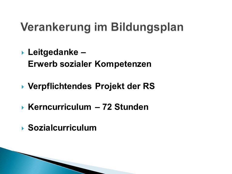  Leitgedanke – Erwerb sozialer Kompetenzen  Verpflichtendes Projekt der RS  Kerncurriculum – 72 Stunden  Sozialcurriculum