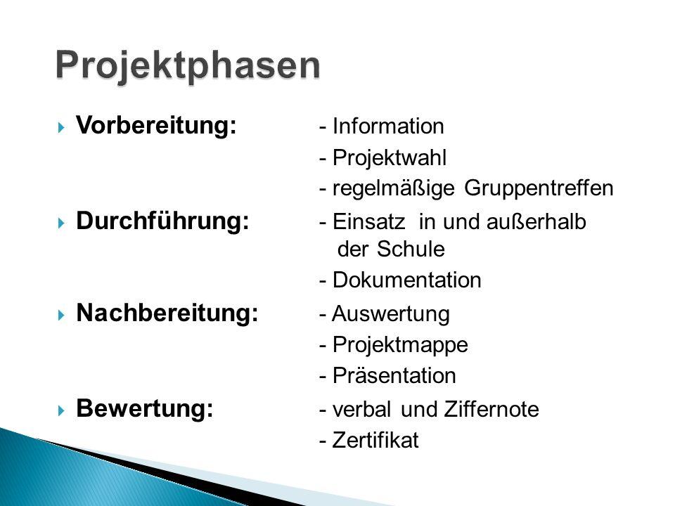  Vorbereitung: - Information - Projektwahl - regelmäßige Gruppentreffen  Durchführung: - Einsatz in und außerhalb der Schule - Dokumentation  Nachb