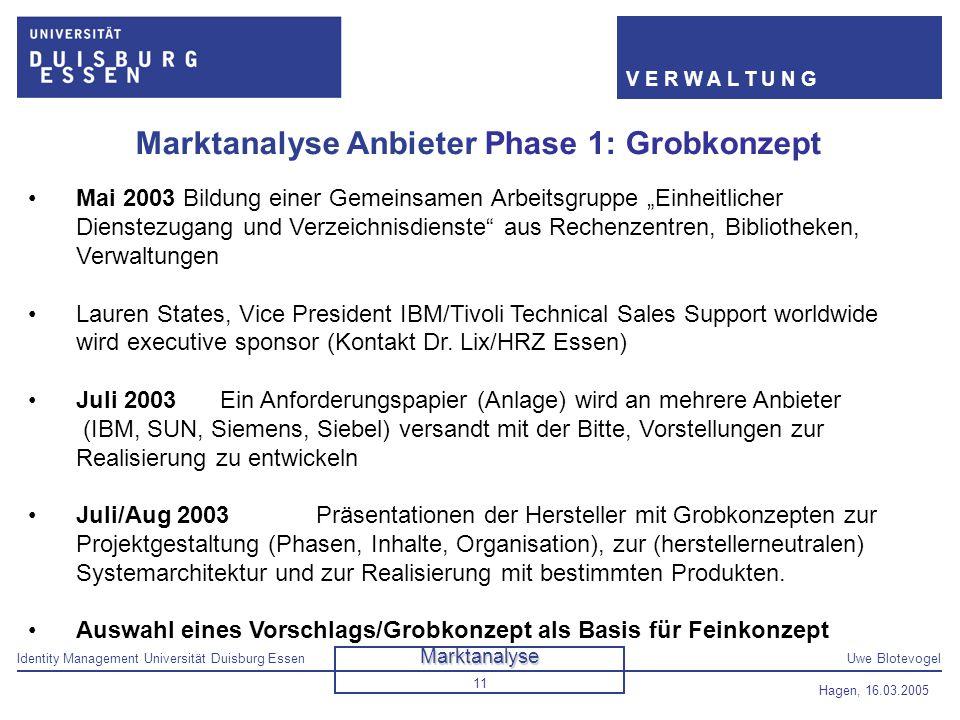 Identity Management Universität Duisburg EssenUwe Blotevogel V E R W A L T U N G Hagen, 16.03.2005 11 Marktanalyse Anbieter Phase 1: Grobkonzept Mai 2