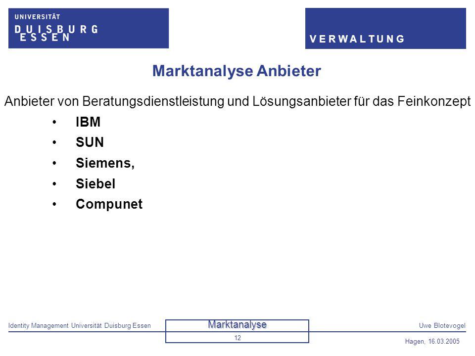 Identity Management Universität Duisburg EssenUwe Blotevogel V E R W A L T U N G Hagen, 16.03.2005 12 Marktanalyse Anbieter Anbieter von Beratungsdien