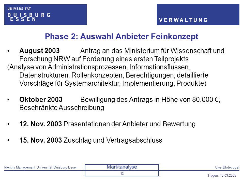 Identity Management Universität Duisburg EssenUwe Blotevogel V E R W A L T U N G Hagen, 16.03.2005 13 Phase 2: Auswahl Anbieter Feinkonzept August 200