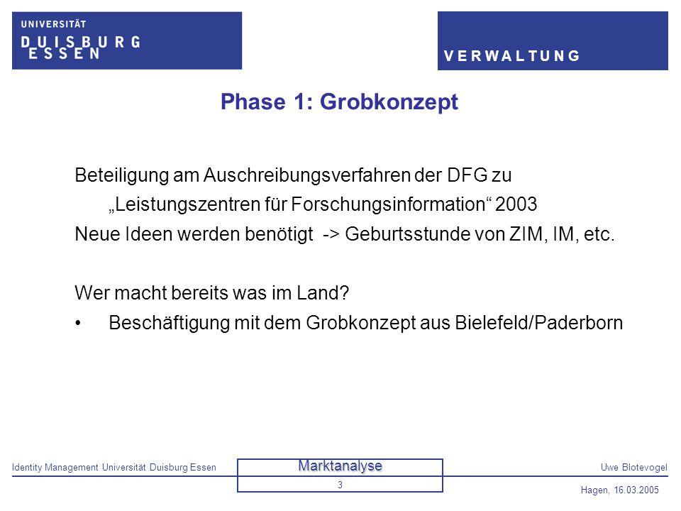 Identity Management Universität Duisburg EssenUwe Blotevogel V E R W A L T U N G Hagen, 16.03.2005 3 Phase 1: Grobkonzept Beteiligung am Auschreibungs