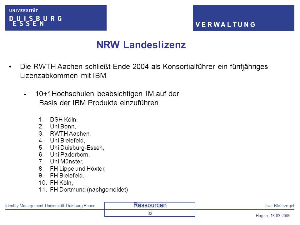 Identity Management Universität Duisburg EssenUwe Blotevogel V E R W A L T U N G Hagen, 16.03.2005 33 NRW Landeslizenz Die RWTH Aachen schließt Ende 2