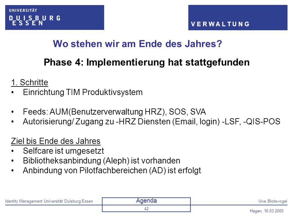 Identity Management Universität Duisburg EssenUwe Blotevogel V E R W A L T U N G Hagen, 16.03.2005 42 Wo stehen wir am Ende des Jahres? Phase 4: Imple