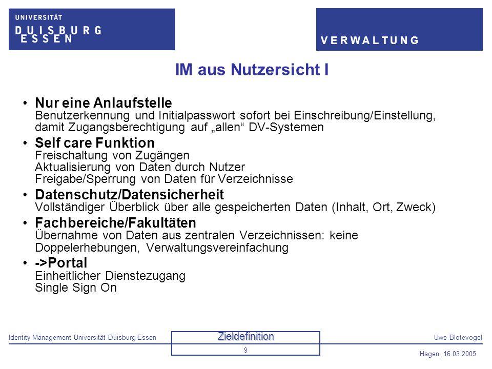 Identity Management Universität Duisburg EssenUwe Blotevogel V E R W A L T U N G Hagen, 16.03.2005 9 IM aus Nutzersicht I Nur eine Anlaufstelle Benutz