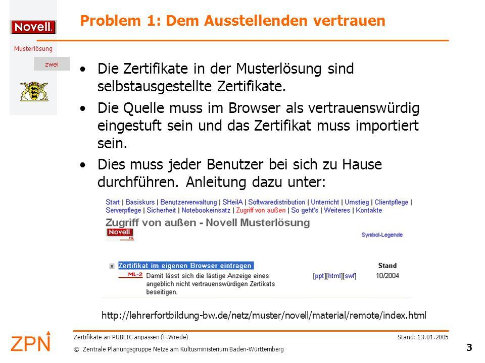 © Zentrale Planungsgruppe Netze am Kultusministerium Baden-Württemberg Musterlösung Stand: 13.01.2005 3 Zertifikate an PUBLIC anpassen (F.Wrede) Problem 1: Dem Ausstellenden vertrauen Die Zertifikate in der Musterlösung sind selbstausgestellte Zertifikate.