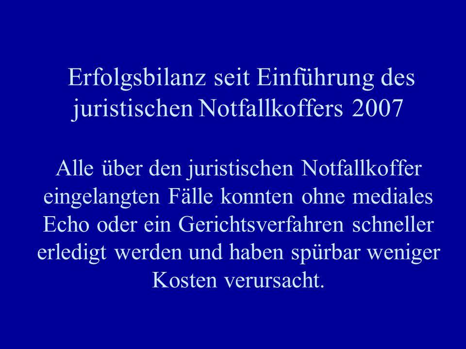 Erfolgsbilanz seit Einführung des juristischen Notfallkoffers 2007 Alle über den juristischen Notfallkoffer eingelangten Fälle konnten ohne mediales E