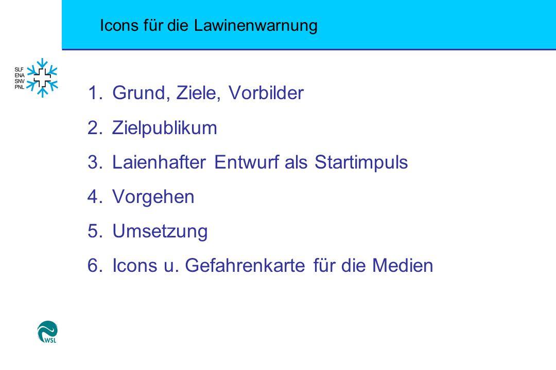 Icons für die Lawinenwarnung Warum 4 Icons vs.