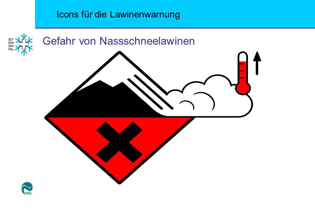 Icons für die Lawinenwarnung Gefahr von Nassschneelawinen
