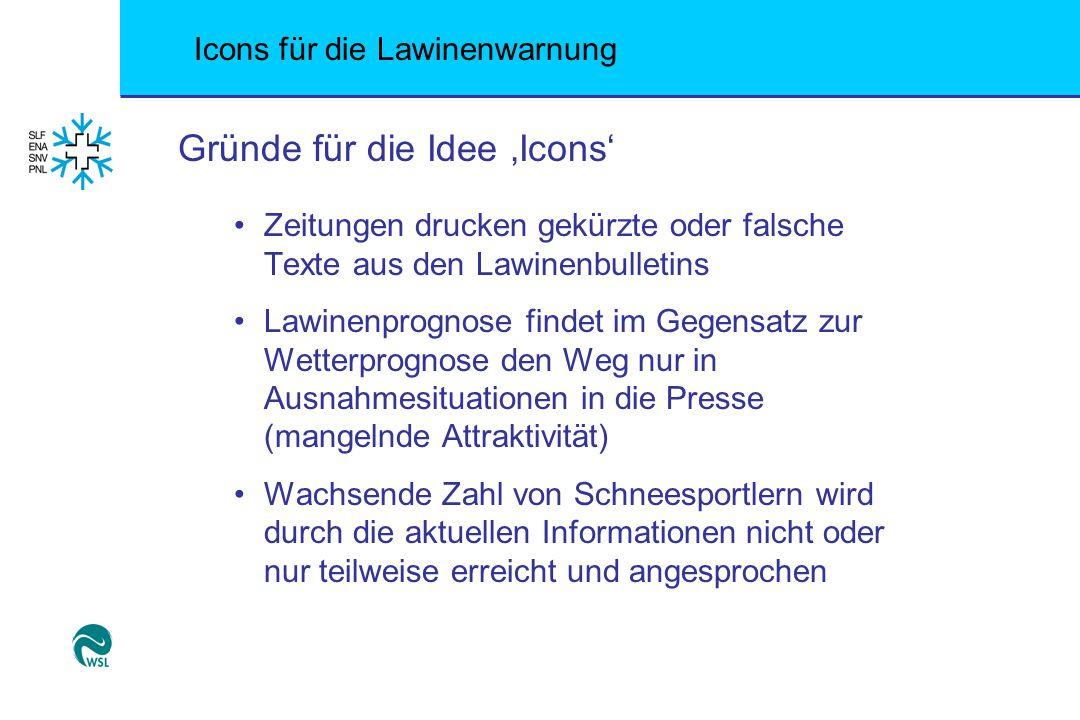 Icons für die Lawinenwarnung Gründe für die Idee 'Icons' Zeitungen drucken gekürzte oder falsche Texte aus den Lawinenbulletins Lawinenprognose findet