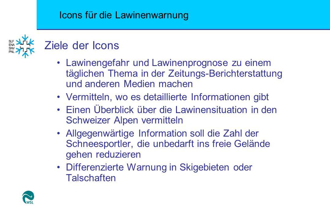 Icons für die Lawinenwarnung Ziele der Icons Lawinengefahr und Lawinenprognose zu einem täglichen Thema in der Zeitungs-Berichterstattung und anderen