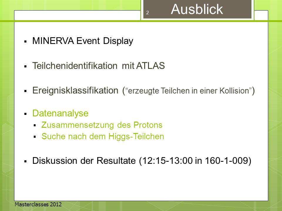 Masterclasses 2012 Einführung in MINERVA  Ein Masterclasses Werkzeug für SchülerInnen zum Kennenlernen des ATLAS Experiments am CERN  Basiert auf einem der offiziellen ATLAS Event Displays Masterclass INvolving Event Recognition Visualised with Atlantis 3