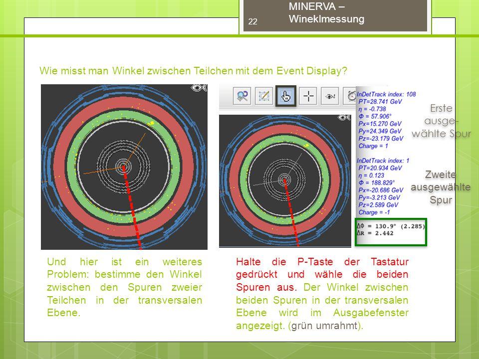 MINERVA – Wineklmessung Wie misst man Winkel zwischen Teilchen mit dem Event Display.