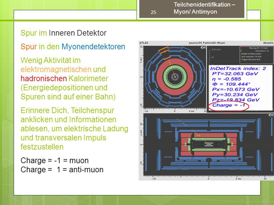 Spur im Inneren Detektor Spur in den Myonendetektoren Wenig Aktivität im elektromagnetischen und hadronischen Kalorimeter (Energiedepositionen und Spuren sind auf einer Bahn) Erinnere Dich, Teilchenspur anklicken und Informationen ablesen, um elektrische Ladung und transversalen Impuls festzustellen Charge = -1 = muon Charge = 1 = anti-muon 25 Teilchenidentifikation – Myon/ Antimyon