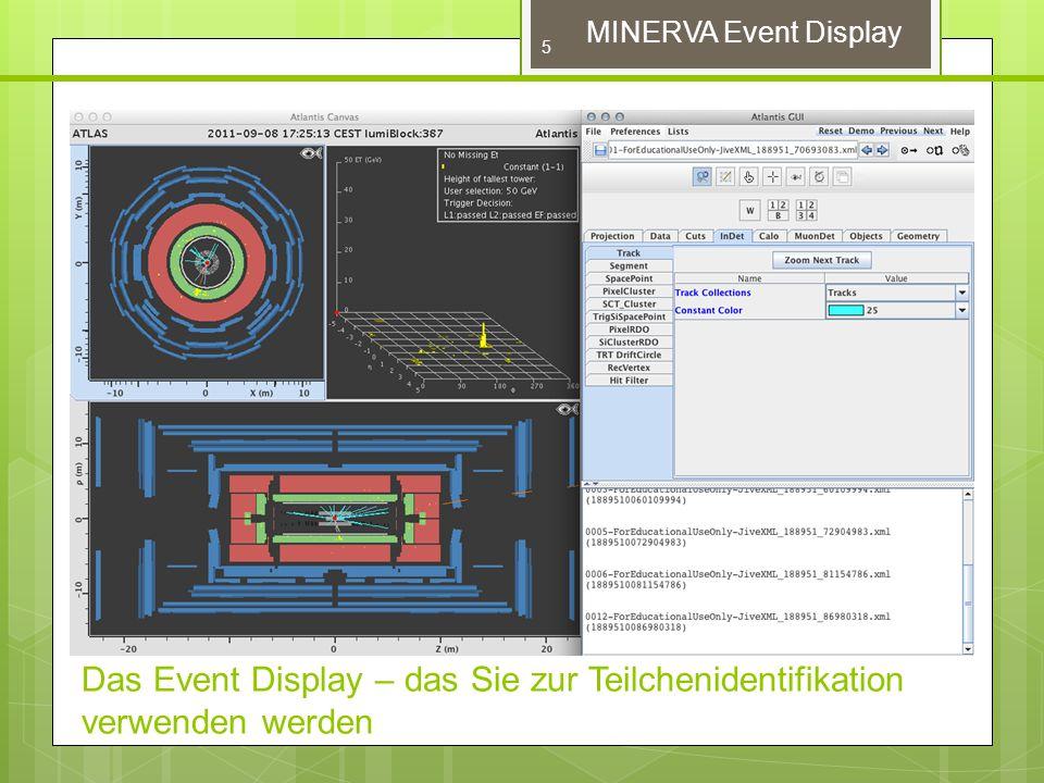 MINERVA Event Display – ATLANTIS GUI ATLANTIS GUI (blau umrahmt) ermöglicht das Ändern von Einstellungen und Ansichten des Ereignisses und liefert Informationen über Spuren und Kalorimetereinträge.