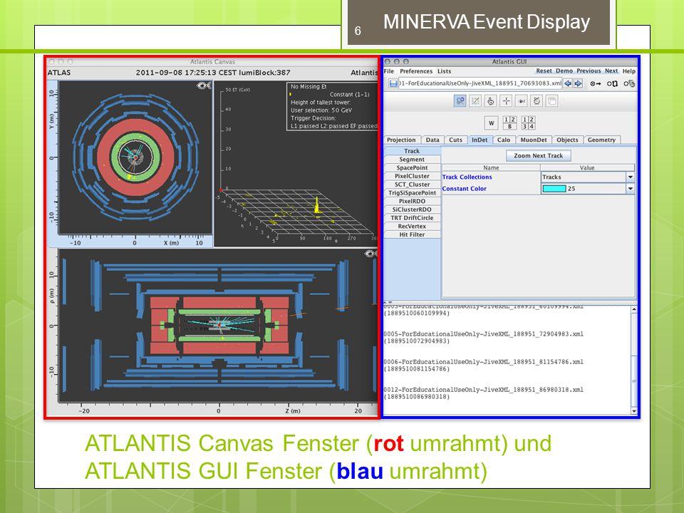 Um Ereignisse zu laden auf 'File' und 'Read events locally' klicken Um von Ereignis zu Ereignis zu gelangen, klickt man auf die blauen Pfeile rrechts neben fem Dateinamenfenster.