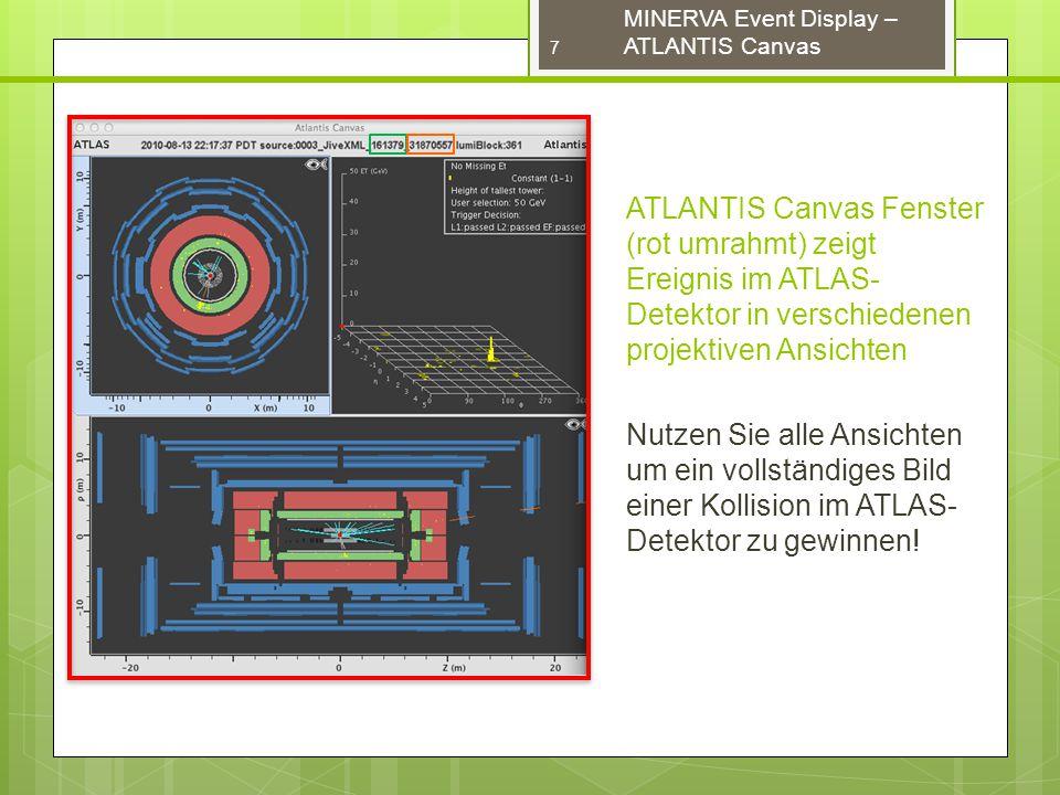 MINERVA Event Display – ATLANTIS Canvas ATLANTIS Canvas Fenster (rot umrahmt) zeigt Ereignis im ATLAS- Detektor in verschiedenen projektiven Ansichten Nutzen Sie alle Ansichten um ein vollständiges Bild einer Kollision im ATLAS- Detektor zu gewinnen.