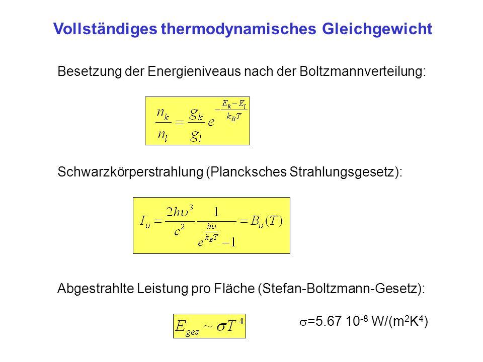 Vollständiges thermodynamisches Gleichgewicht Besetzung der Energieniveaus nach der Boltzmannverteilung: Schwarzkörperstrahlung (Plancksches Strahlung