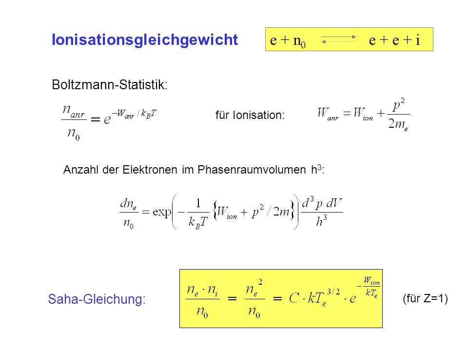 Ionisationsgleichgewicht e + n 0 e + e + i Boltzmann-Statistik: für Ionisation: Anzahl der Elektronen im Phasenraumvolumen h 3 : (für Z=1) Saha-Gleich