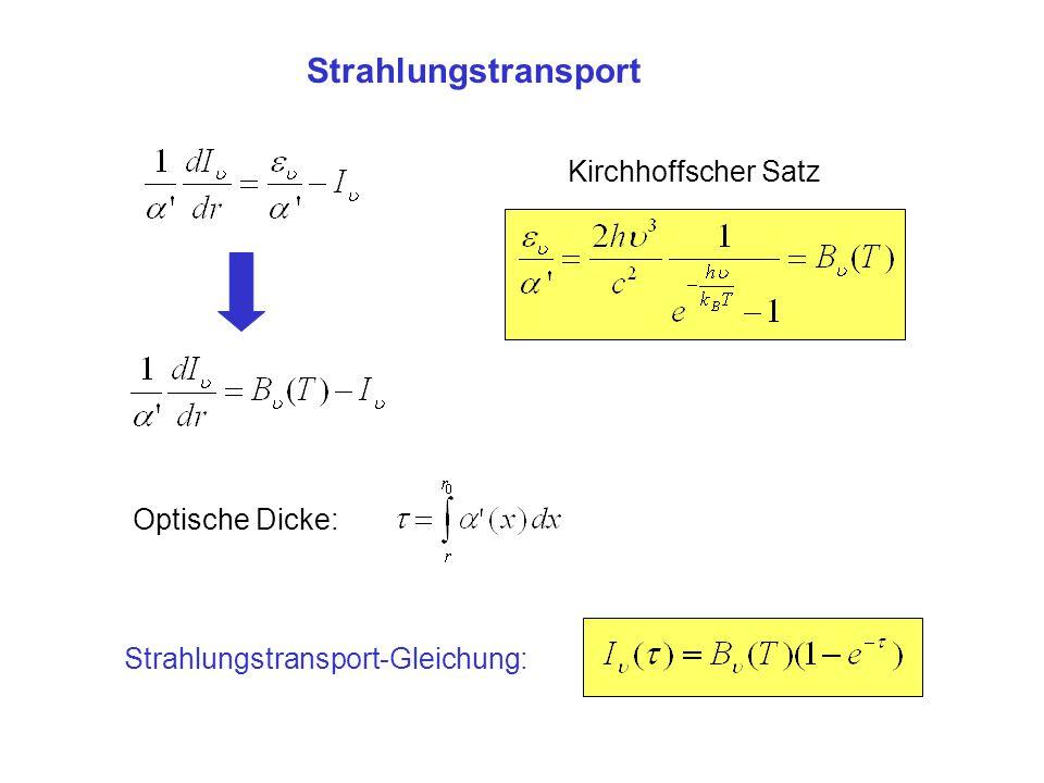 Strahlungstransport Kirchhoffscher Satz Strahlungstransport-Gleichung: Optische Dicke: