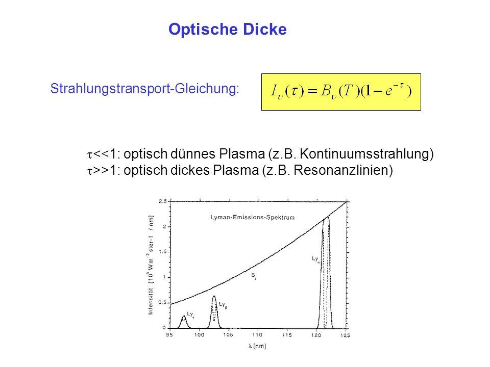 Optische Dicke Strahlungstransport-Gleichung:  <<1: optisch dünnes Plasma (z.B. Kontinuumsstrahlung)  >>1: optisch dickes Plasma (z.B. Resonanzlinie