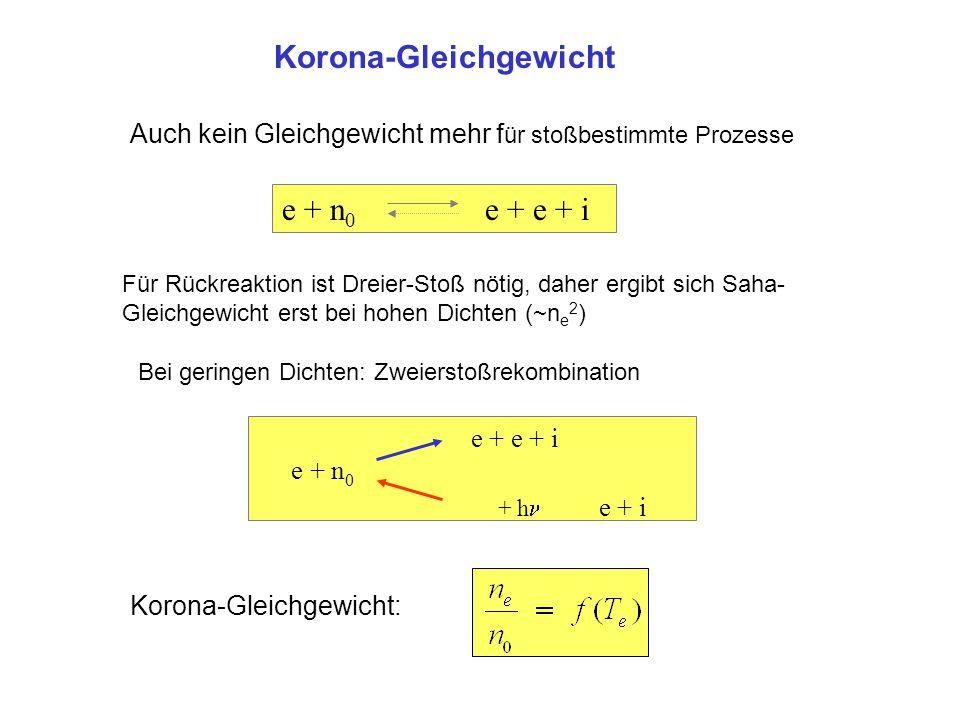 Korona-Gleichgewicht e + n 0 e + e + i Für Rückreaktion ist Dreier-Stoß nötig, daher ergibt sich Saha- Gleichgewicht erst bei hohen Dichten (~n e 2 )