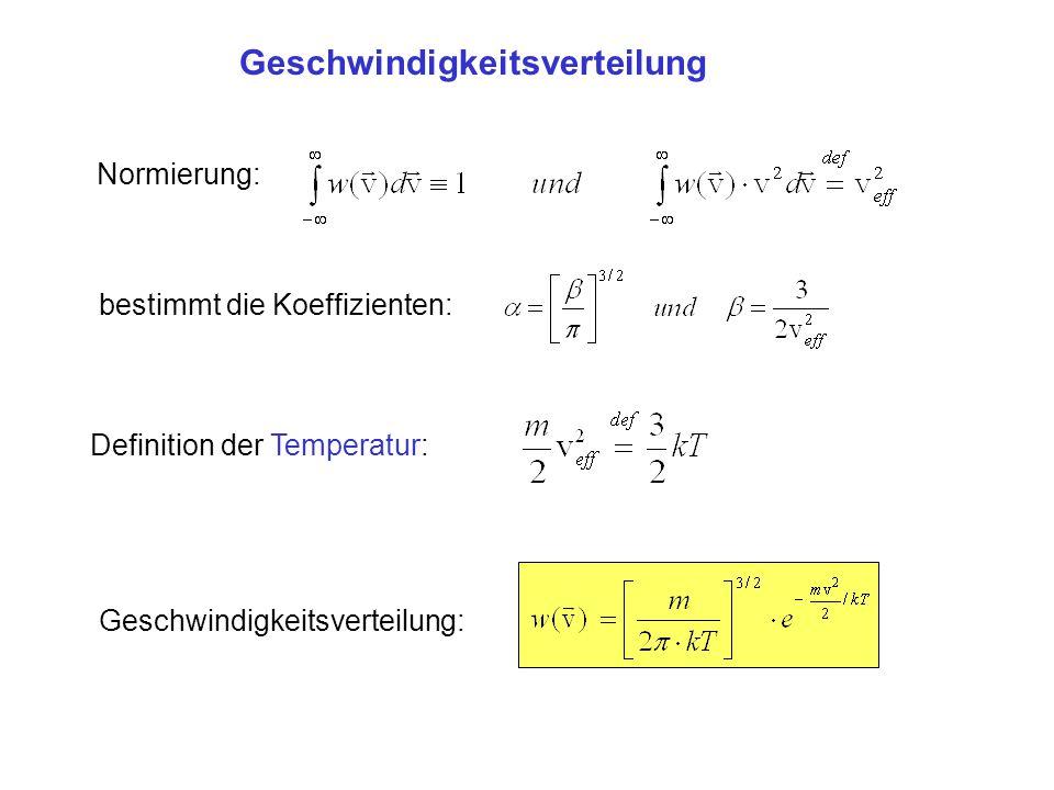 Normierung: bestimmt die Koeffizienten: Definition der Temperatur: Geschwindigkeitsverteilung: Geschwindigkeitsverteilung